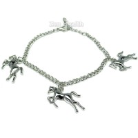 Silver Plated 3 x Horse Charms Bracelet