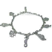 Charm Bracelet With Sea Turtle - Shells - Dolphins - SeaHorses