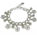Silver Tone Flower Charms Bracelet - Girls / Ladies Gift