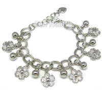 Silver Tone Flower Charms Bracelet - Girls / Ladies Gift