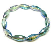 Ladies Faceted Glass Bead Stretchable Bracelet Blue, Purple and Turquoise