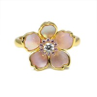 Ladies Sterling Silver Gold Plated Mother of Pearl Flower Ring