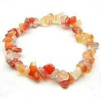 Natural Carnelian Gemstone Bracelet Elasticated