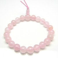 Natural Pink Rose Quartz Bracelet With Round Stones - The Love Stone