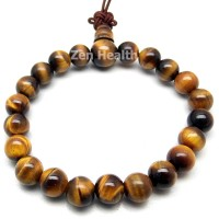 Golden Brown Tiger's Eye Gemstone Bracelet Round Stones