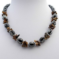 Hematite and Tigers Eye Gemstone Choker Necklace With Chipped Stones