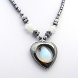 Hematite Heart Pendant With Opalite Drop Stone