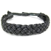 Black Braided Leather Adjustable Bracelet