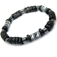 Ying/Yang Black Leather Adjustable Bracelet