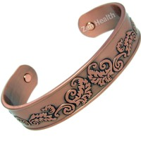 Magnetic Bracelet - Copper Celtic Leaf Design - Medium Size