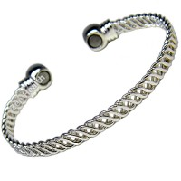 Magnetic Bracelet - Weave Design With 2 Healing Magnets - Ladies Size