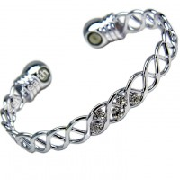 Magnetic Bracelet With Crystals and Two Magnets - Ladies Size