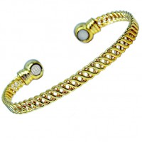 Magnetic Bracelet Gold Plated Weave Design - Ladies Size