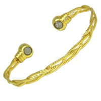 Magnetic Bracelet Twisted Gold Tone - Ladies Size
