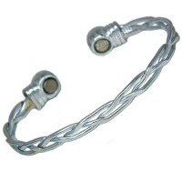 Magnetic Bracelet - Silver Criss-Cross Design - Ladies Size