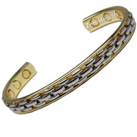Magnetic Bracelet - Gold and Silver Tone Links Design - Medium Size
