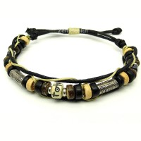 Adjustable Tribal Style Leather Bracelet With Beads - Design 1