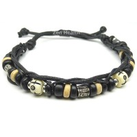 Adjustable Tribal Style Leather Bracelet With Beads - Design 2