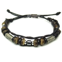 Adjustable Tribal Style Leather Bracelet With Beads - Design 3