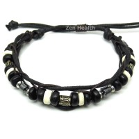 Adjustable Tribal Style Leather Bracelet With Beads - Design 4