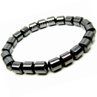 Magnetic Bracelet - Hematite Cylindrical Beads - Medium Size