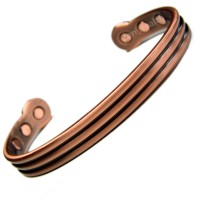 Magnetic Bracelet - Copper Band With Two Grooves - Medium Size