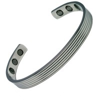 Magnetic Bracelet - Shiny Silver 5 Bands Design  - Medium Size