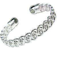 Magnetic Bracelet - Twisted Silver Design - Ladies Size