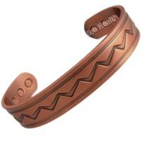 Magnetic Copper Bracelet With Zig-Zag Design - Large Size