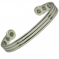Magnetic Bracelet - Shiny Silver Chrome Design - Large Size