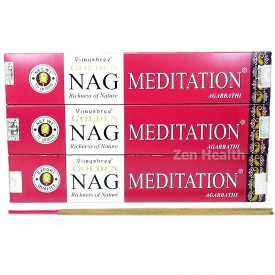 Golden Nag Champa Meditation Incense Sticks Relaxing x 3 Packs