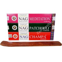 Golden Nag Champa - Patchouli - Meditation Incense Sticks and Ash Catcher