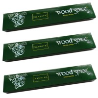 Nandita Wood Spice Incense Sticks Natural Spices, Herbs, Oils x 3 Packs