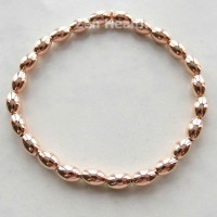 Rose Gold Plated Sterling Silver Oval Stretchable Bead Bracelet