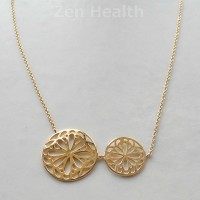 Ladies Beautiful Filigree 9ct Gold Plated Sterling Silver Necklace and Pendant