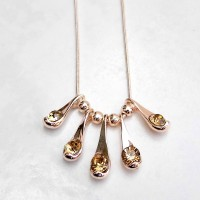 Ladies Rose Gold Plated Teardrop Necklace