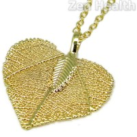 "Ladies Gold Tone Leaf Pendant With Long 24"" Chain"
