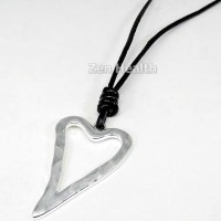 Large Silver Plated Heart Pendant With Adjustable Black Leather Thong