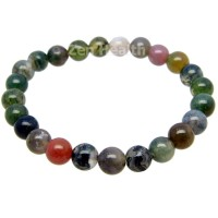 Moss Agate Bracelet With Chakra Healing Stones