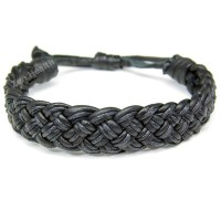 Black Braided Leather Adjustable Bracelet