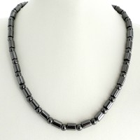 Magnetic Hematite Necklace - Barrel Beaded Design