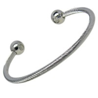 Magnetic Stainless Steel Rope Torque Bracelet -  Medium Size