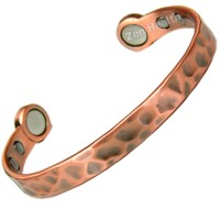 Magnetic Copper Bracelet With Hammered Design and 6 Magnets - Medium Size