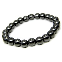 Magnetic Hematite Bracelet With Round Beads - Medium Size