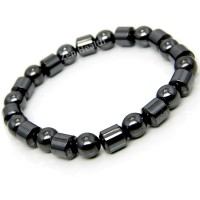 Magnetic Hematite Bracelet With Round and Cylindrical Beads - Medium Size
