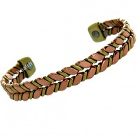 Magnetic Gold and Copper Design Bracelet - Medium Size