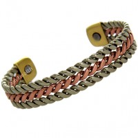 Magnetic Silver and Copper Twist Design Bracelet - Medium Size