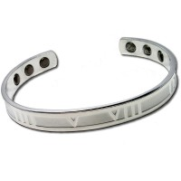 Magnetic Silver Tone Bracelet With Roman Design - Medium Size