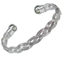 Magnetic Silver Tone Bracelet With Weaving Basket Design - Ladies Size