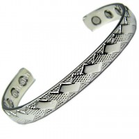 Magnetic Silver Tone Bracelet With Diamond Squares Design For Healing Therapy